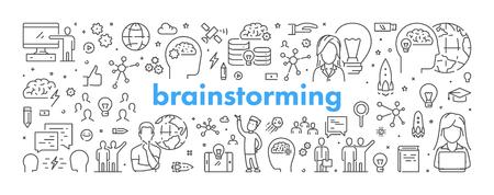 Vector line web banner for brainstorming. Modern linear concept for brainstorm. Ilustração