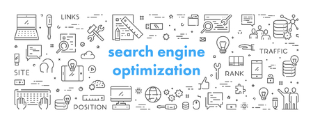 Vector line banner for search engine optimization. Modern linear concept for seo.