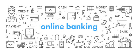 Vector line web banner for online banking. Modern linear concept for internet ban.