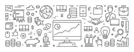 Line web horizontal banner for investment. Vector design concept for banking. Ilustração