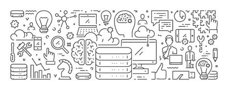 Linear web banner for data analysis. Vector concept of big data. Ilustração