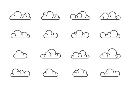 Large linear set of cloud icons. Vector line symbols for web.