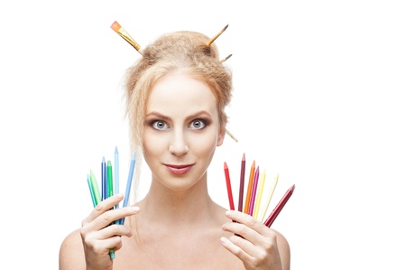 cheerful painter girl Stock Photo - 15752547