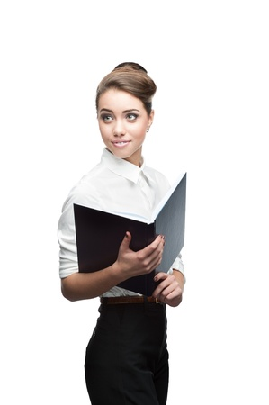 young smiling business woman holding blue diary isolated on white Stock Photo - 16304563
