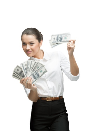 young cheerful caucasian brunette businesswoman in white blouse holding money isolated on white