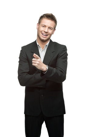 portrait of young smiling successful caucasian businessman in black suit isoalted on white Stock Photo