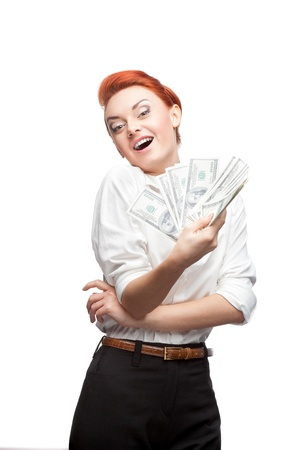 young caucasian red-haired admiring business woman holding money isolated on white Stock Photo - 16695818
