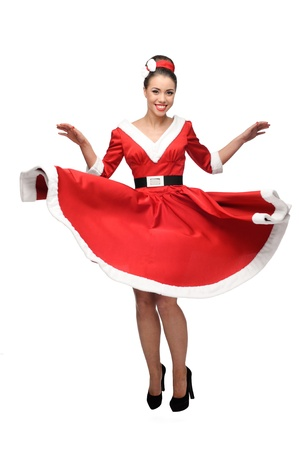 cheerful young caucasian woman in red vintage clothing dancing isolated on white photo