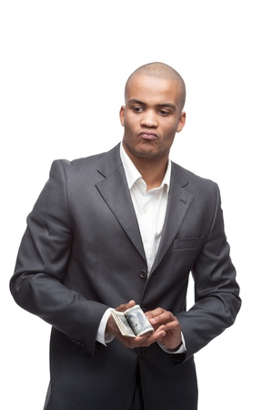 young cool black businessman holding money isolated on white photo