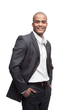 business costume: young cheerful black businessman standing isolated on white Stock Photo