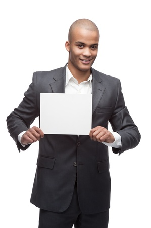 young cheerful black businessman holding sign isolated on white Stock Photo