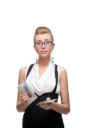 young surprised caucasian businesswoman holding money isolated on white Stock Photo - 17891088