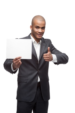 young cheerful black businessman holding sign and showing thumbs up isolated on white