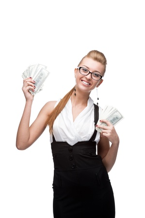 young cheerful caucasian businesswoman holding money isolated on white Stock Photo - 17891090