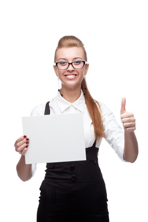 young cheerful caucasian businesswoman holding sign and showing thumbs up isolated on white photo