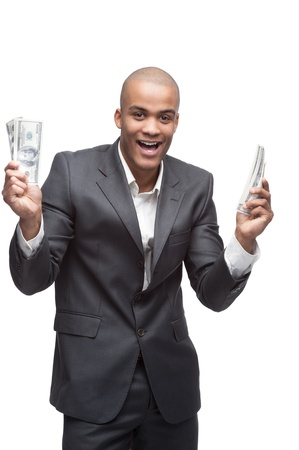 black young screaming businessman in gray suite holding money isolated on white photo