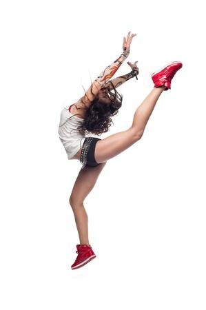 schöne junge caucasian dancing woman isoliert auf weißem Hintergrund