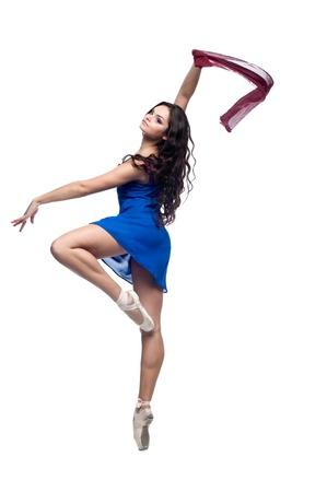 sch�ne junge caucasian dancing woman isoliert auf wei�em Hintergrund