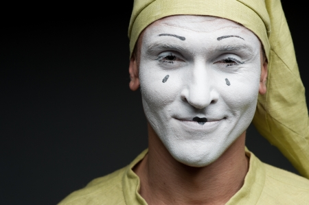 glad: funny mime show glad face