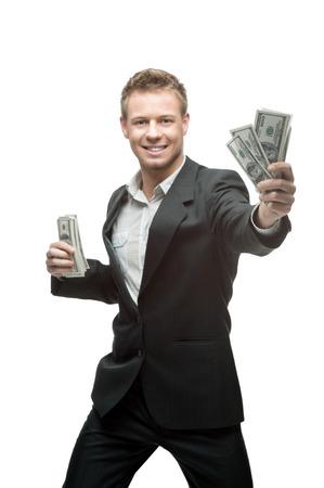 allegro giovane uomo d'affari caucasico in denaro grigio tenuta vestito isolato su sfondo bianco