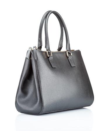 黒革女性のハンドバッグ。白で隔離 写真素材