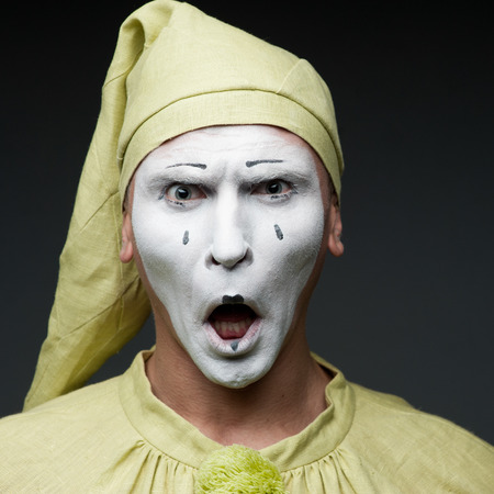 funny mime show surprised face photo