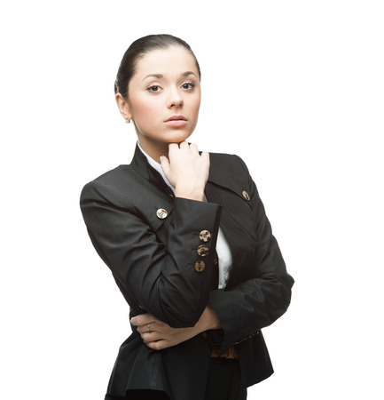portrait of young thoughtful caucasian businesswoman in black suit isolated on white  photo