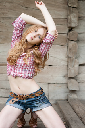 outdoors portrait of beautiful red haired  caucasian young woman Stock Photo - 29192056