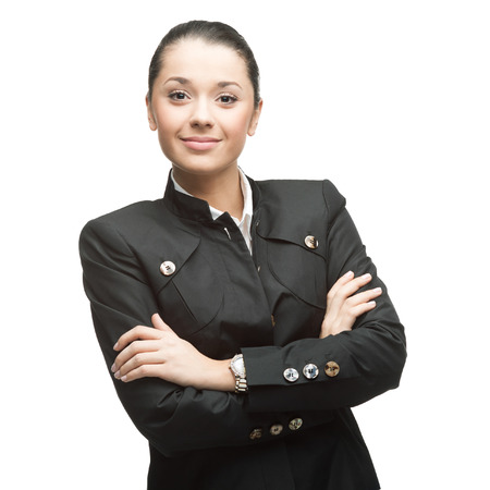 delighted: portrait of young smiling caucasian businesswoman in black suit isolated on white background