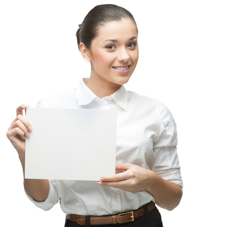 young smiling caucasian businesswoman in white blouse holding sign isolated on white background