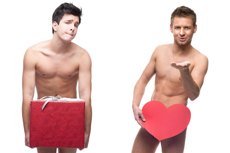 funny topless men holding red gift and heart isolated on white Stock Photo