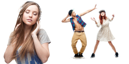 girl in sportswear: young woman listening music and two dancers on background isolated on white Stock Photo