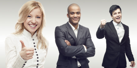 team of young successful business people standing over gray background photo