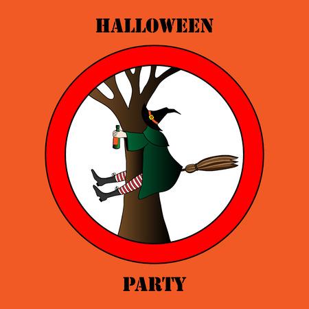 brujas caricatura: borracho bruja de Halloween vector ilustraci�n de fondo Vectores