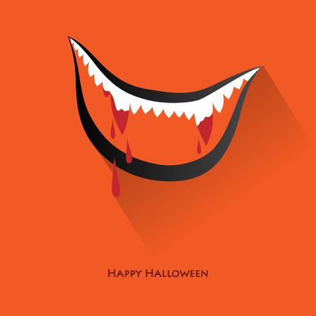 fangs: fangs halloween vampire smile vector illustration background