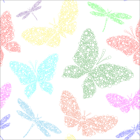 colorful butterfly and dragonfly on white vector seamless pattern background