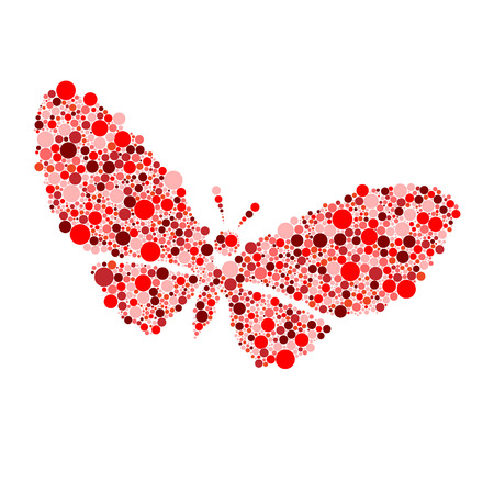 red butterfly: red butterfly isolated on white vector illustration