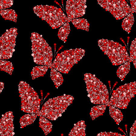 red butterfly: red butterfly on black vector seamless pattern background Illustration
