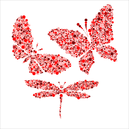 butterfly isolated: red butterfly and dragonfly isolated on white vector illustration Illustration