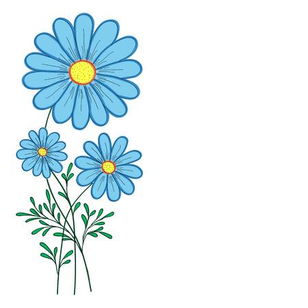 blue daisy: blue daisy vector illustration for greeting card