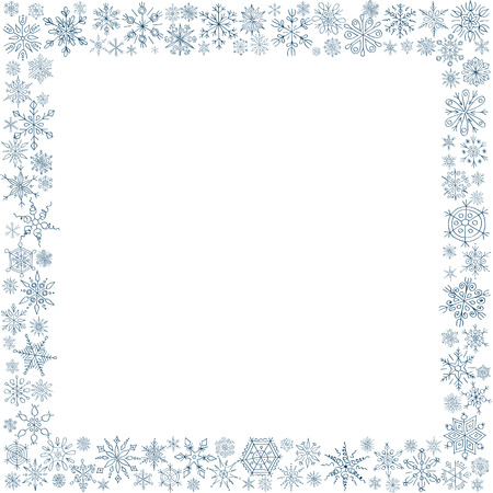 blue snowflakes: Frame from snowflakes for a card