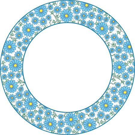 daisy vector: blue daisy vector illustration for ornament plates Illustration
