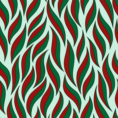 green and red: abstract two-tone green red leaves vector seamless pattern Illustration