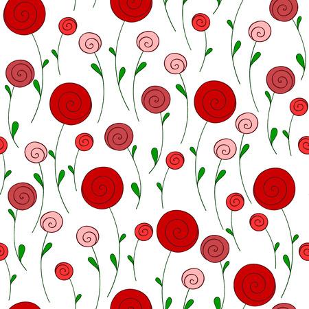 gestileerde ronde rode bloemen vector naadloos patroon Stock Illustratie