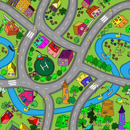 道路は、シームレスなパターンをベクトル