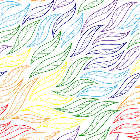 bright color: leaves rainbow fishnet vector seamless pattern