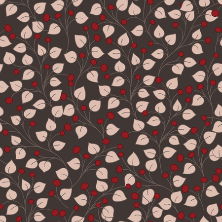 twigs: pink twigs with leaves and red berries vector seamless pattern