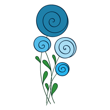 greeting stylized: blue stylized round flowers vector illustration for greeting card Illustration