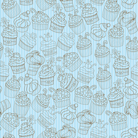 filberts: Christmas and New Year cupcakes holiday vector seamless pattern Illustration