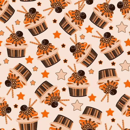 birthday presents: vector chocolate cupcake seamless pattern